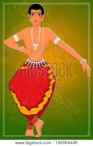 Vector design of man performing Odissi classical dance of Odisha, India