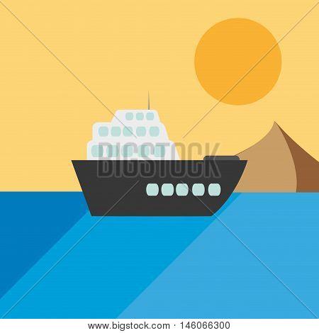 flat design single cruise ship on water icon vector illustration