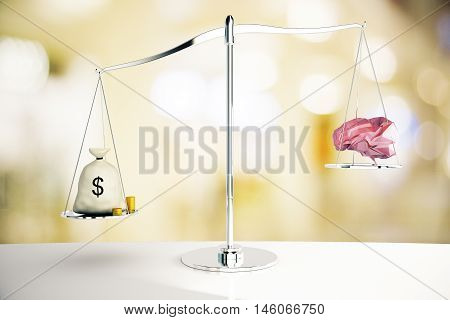 Cash sack on silver scales outweighing abstract polygonal brain on blurry background. 3D Rendering