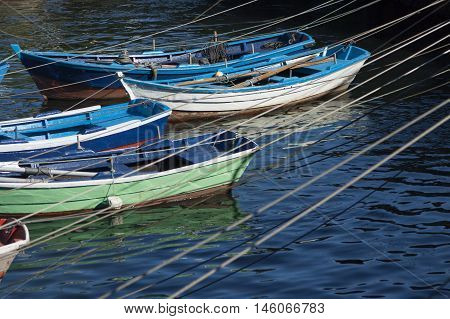 Spain Galicia Cee Fishing Boats moored in the harbour