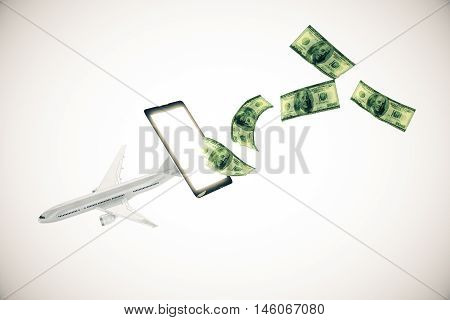 Abstract airplane and dollar bills flying out of cellular phone screen on light background.3D Rendering. Online payment for plane tickets concept