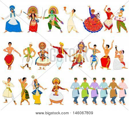 Vector design of men performing classical and folk dance of India