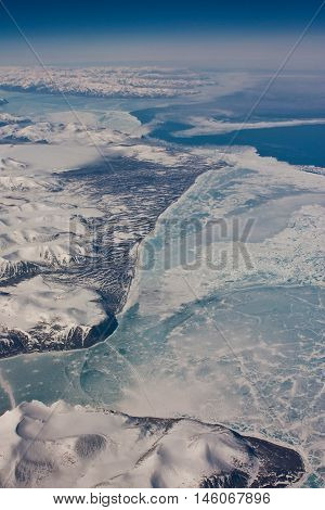 The aerial view of Nunavut province, Canada