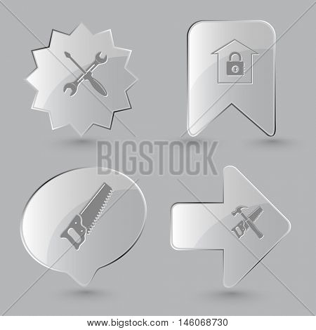 4 images: screwdriver and spanner, bank, saw, hand saw and hammer. Industrial tools set. Glass buttons on gray background. Vector icons.