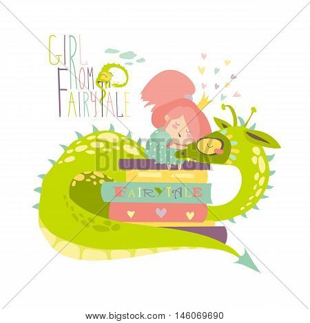 Cute princess sitting on pile of books and hugging the dragon. Vector illustration