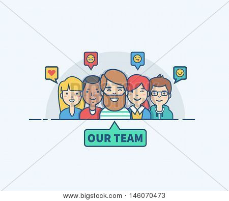 Thin line flat design of our team. Vector illustration concept. Can used for website mobile website banners.
