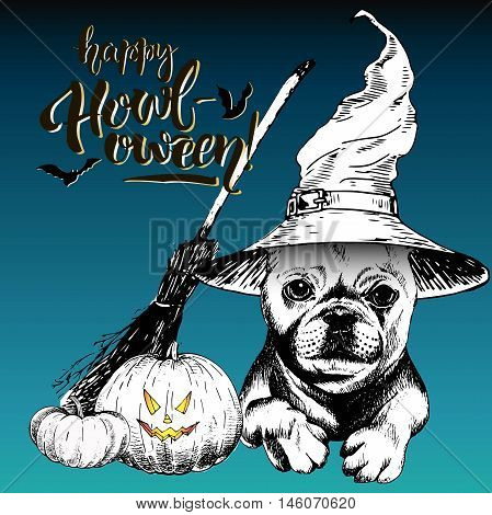 Vector greeting card for Halloween. French bulldog dog wearing the witch hat. Broom and pumpkin lanterns. Decorated with lettering Happy Howl-oween and bats. Hand drawn.