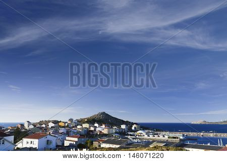Spain Galicia Costa da Morte panoramic view of the village and harbour of Muxia