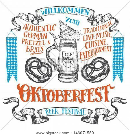 Oktoberfest hand drawn set. Willkommen zum Oktoberfest. Hand lettering set of beer festival. German ceramic beer stein with a pretzels and vintage banners isolated on white
