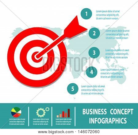 Business Concept, goal concept target isolated on white background, Infographics