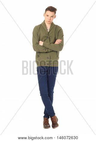 Young Student Boy Looking At Camera Isolated