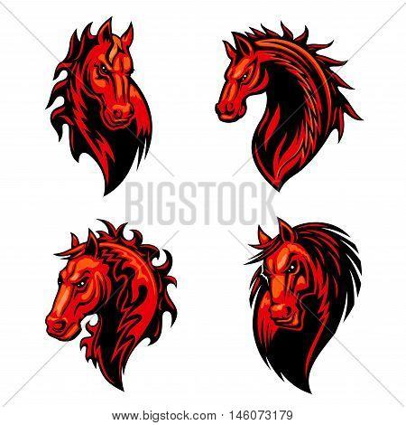 Flaming horse mascot of dangerous fiery red stallion with mane decorated curly fire flames and tribal ornament. Sporting team, equestrian sport and t-shirt print design poster
