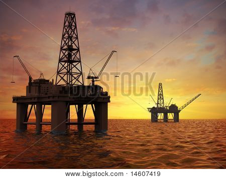 Oil rig in sea.
