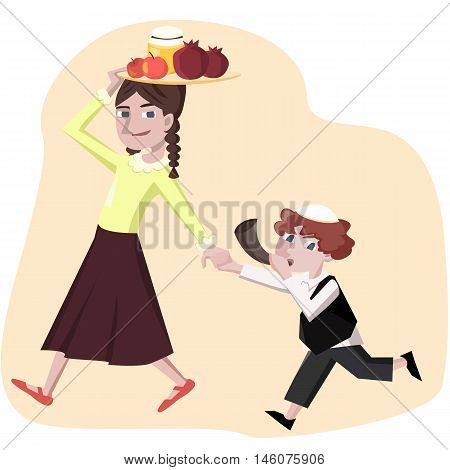 jewish new year greetings, boy with shofar and girl with symbols - cartoon vector illstration