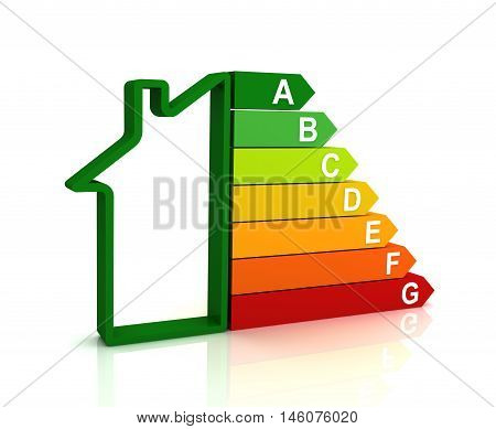 energy efficiency bar chart 3d illustration isolated on white background