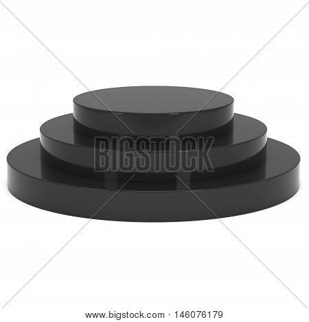 Round stage black podium for award ceremony. 3D render illustration pedestal isolated on whithe background