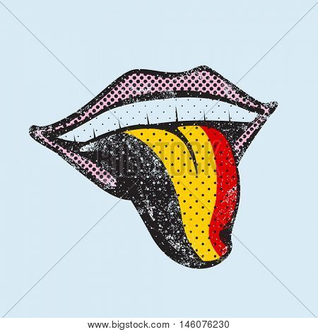 Dutch language learning. Dutch icon for dictionary, translator. Flag of Belgium, Brussels for language speaking on tongue
