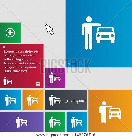 Person Up Hailing A Taxi Icon Sign. Buttons. Modern Interface Website Buttons With Cursor Pointer. V