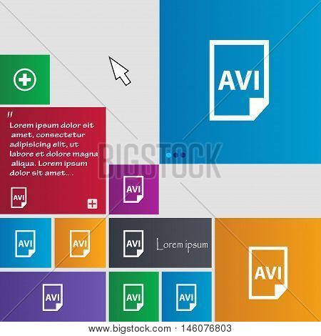 Avi Icon Sign. Buttons. Modern Interface Website Buttons With Cursor Pointer. Vector