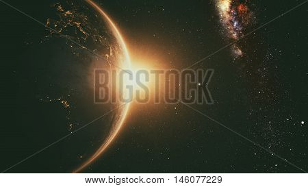 Planet Earth with a spectacular sunrise with milkyway in the background. 3d render.