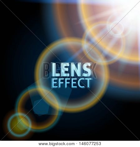 Realistic collimated light beam. The effect of the sun flare. Bright lighting. Vector illustration.
