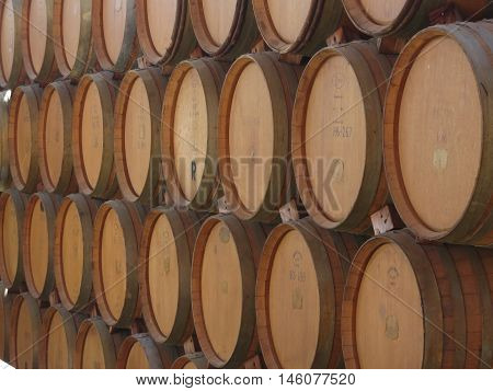 European oak barrels used for wine production