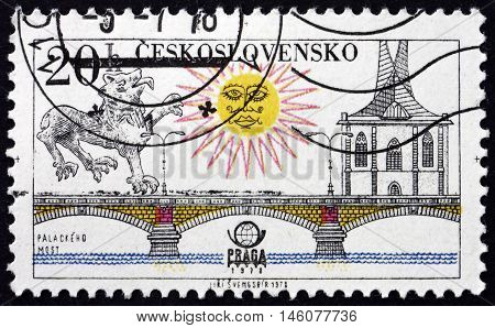 CZECHOSLOVAKIA - CIRCA 1978: a stamp printed in Czechoslovakia shows Palacky Bridge Prague circa 1978