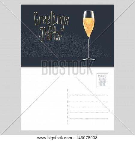 France Paris vector postcard design with glass of French champagne. Template illustration element nonstandard mail postcard with copyspace post office stamp and Greetings from Paris sign