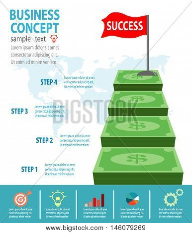 Successful businessman standing on money, Businessman on a ladder above the clouds, step by step, person goes up the stairs, banner, diagram, web design, infographics, Business Concept
