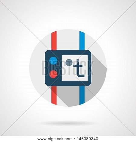 Temperature controller with round red and blue buttons and pipes. Element of heated floor system pipeline. House heating equipment. Gray flat vector icon with long shadow.