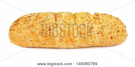 corn bread with sesame and sunflower seeds, isolated on white background