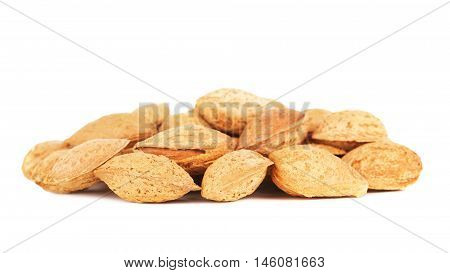 almonds in a shell, isolated on white background