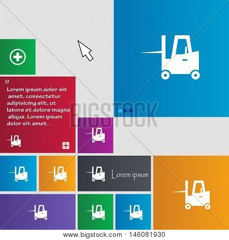Forklift Icon Sign. Buttons. Modern Interface Website Buttons With Cursor Pointer. Vector