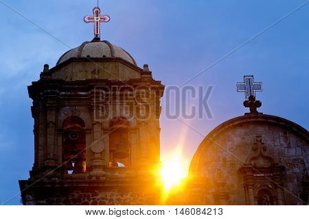 Tipical mexican Church at sunset with blue sky. Tequila Jalisco Mexico