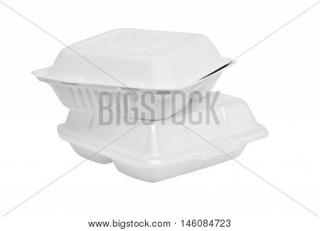 Two cardboard boxes and disposable white foam with a white background