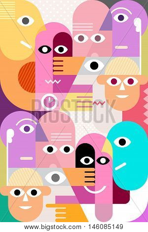 Large group of funny people vector illustration.