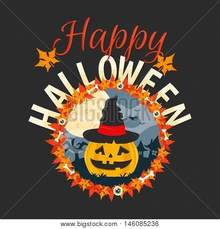 Happy Halloween vector card. Halloween flat illustration. Halloween Pumpkin