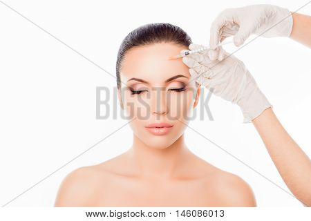 Attractive Young Woman Geting Cosmetic Injection On White Background