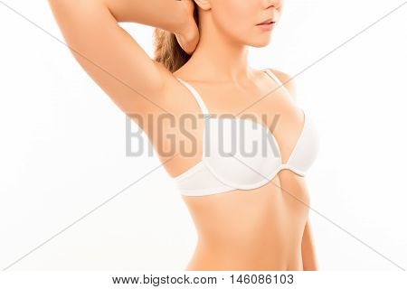 Close Up Photo Of Shapely Young Woman With Perfect Chest