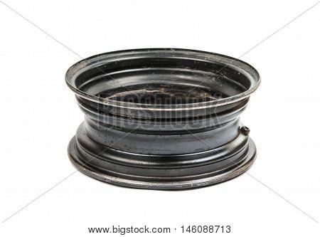car alloy wheel isolated on white background.