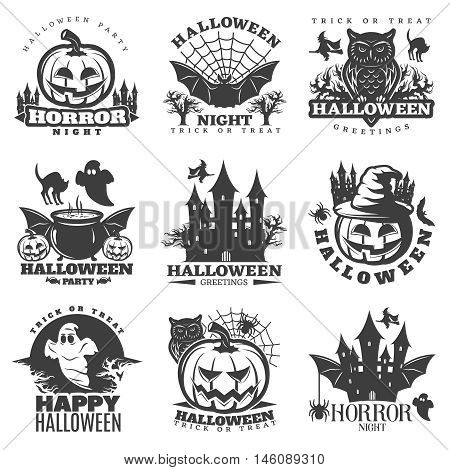 Halloween black white emblems of parties and greetings with holiday attributes and sayings isolated vector illustration