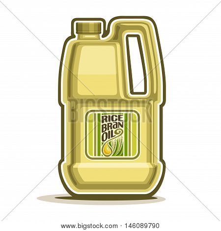 Vector logo big yellow plastic Bottle with Rice Bran Oil and label, gallon canister filled pure cooking oil, cartoon large container with viscous liquid with cap and handle, closeup isolated on white.