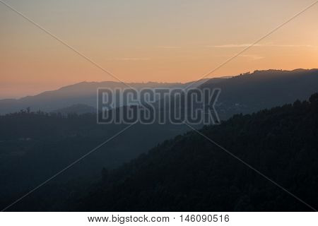 scenic view of sunset mountains at Peneda Geres National Park in northern Portugal.