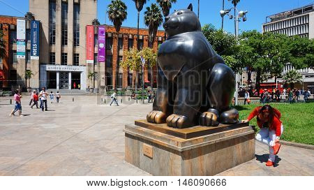 Medellin, Antioquia / Colombia - November 10 2015: Activity in the Botero Plaza. Sculpture