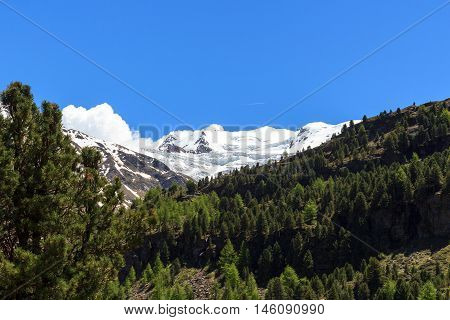 Forni Glacier Mountain Panorama In Ortler Alps, Stelvio National Park, Italy