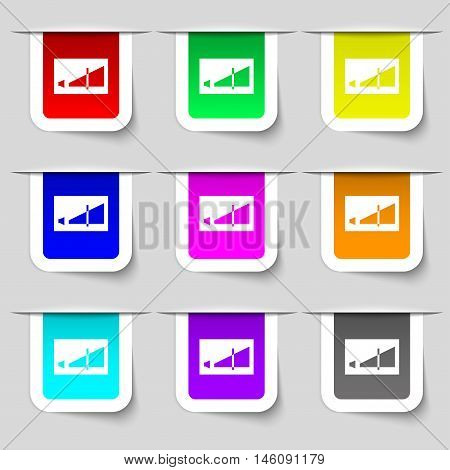 Volume Adjustment Icon Sign. Set Of Multicolored Modern Labels For Your Design. Vector