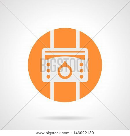 Abstract white silhouette sign of temperature regulator. Elements and components for warm floor system. Regulation of comfortable climate at home. Orange round flat style vector icon.