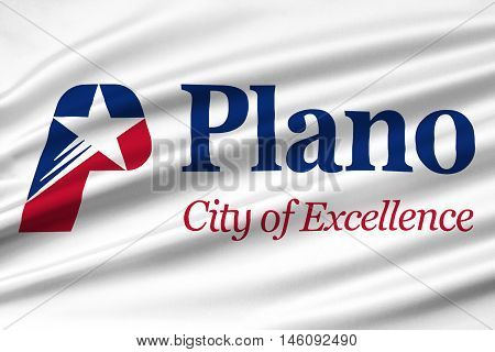 Flag of Plano in Texas United States. 3D illustration