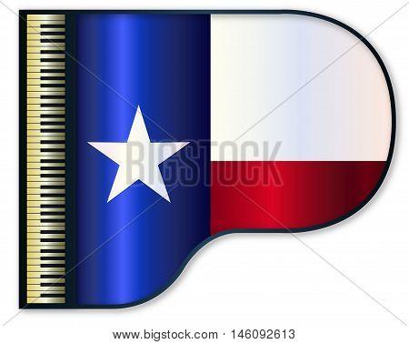 The Texan flag set into a traditional black grand piano