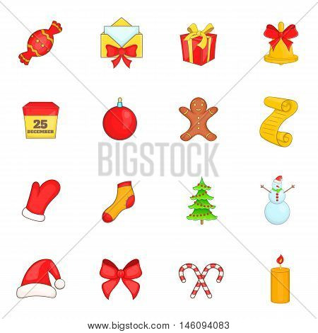 Christmas icons set in cartoon style. Holiday elements set collection vector illustration